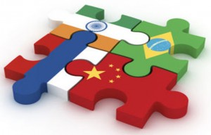 Emerging markets Puzzle with Brazil, Russia, India and China flags by T-Advisor