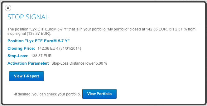Stop-loss alert in T-Advisor