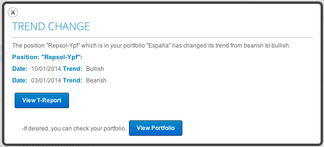 Trend change alert in T-Advisor