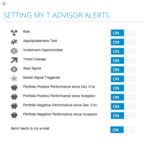 Alerts settings in T-Advisor