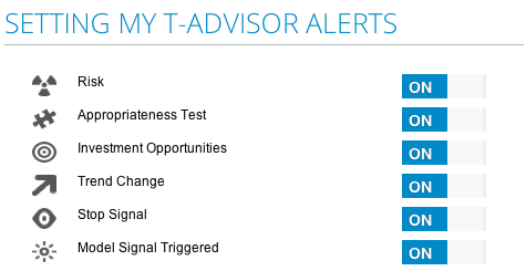 Alerts setting in T-Advisor