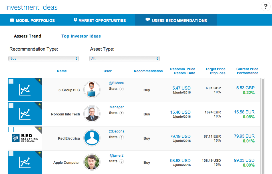 Recommendation tab in investment ideas module in T-Advisor