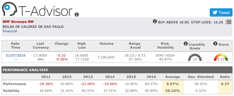 BMF Bovespa main figures in T-Advisor