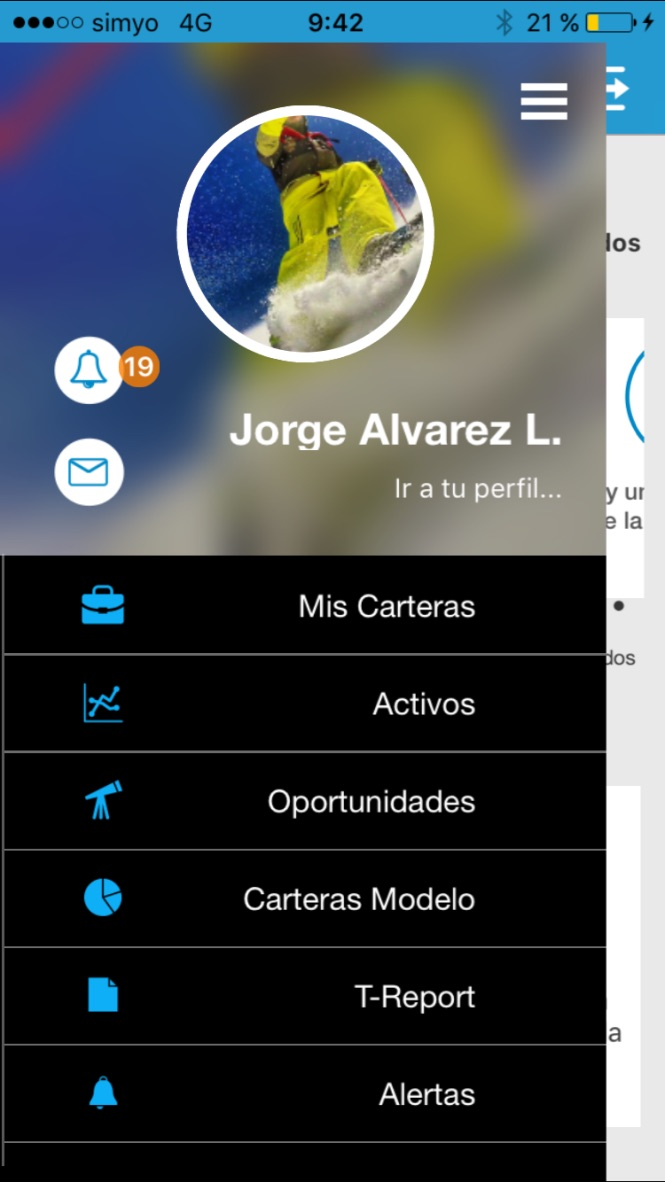 Menu en T-Advisor para iPhone