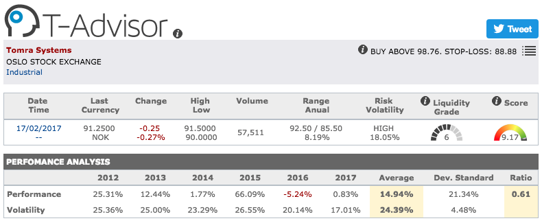 Tomra main figures in T-Advisor